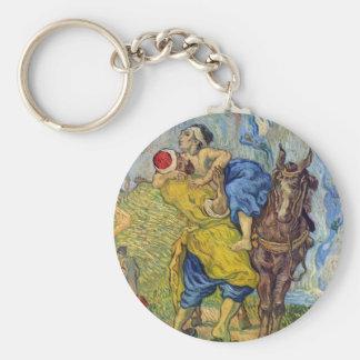 The Good Samaritan by Vincent Willem van Gogh Basic Round Button Keychain