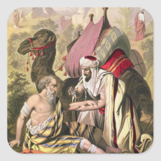 The Good Samaritan, from a bible printed by Edward Square Sticker