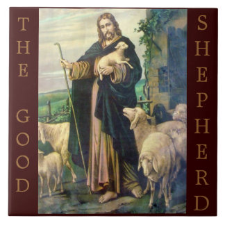 THE GOOD SHEPHERD BROWN BACKGROUND TILE
