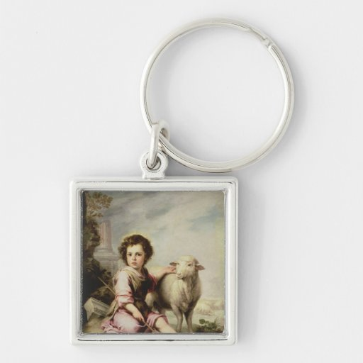 The Good Shepherd, c.1650 Silver-Colored Square Keychain