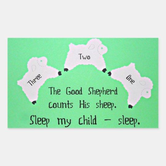The Good Shepherd counts sheep... Rectangular Sticker