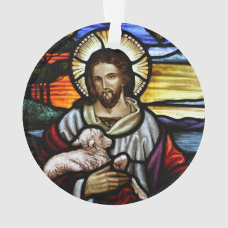 The Good Shepherd; Jesus on stained glass