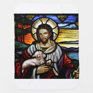 The Good Shepherd; Jesus on stained glass Baby Blanket