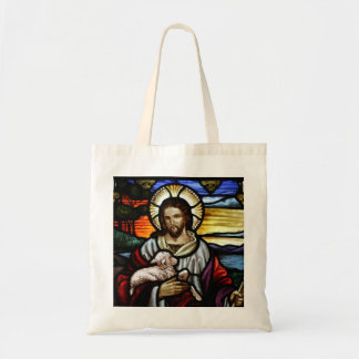 The Good Shepherd; Jesus on stained glass Budget Tote Bag