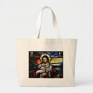The Good Shepherd; Jesus on stained glass Jumbo Tote Bag