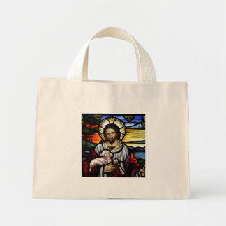 The Good Shepherd; Jesus on stained glass Mini Tote Bag