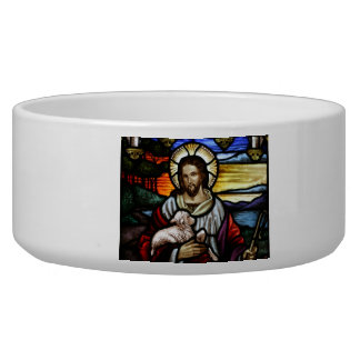 The Good Shepherd; Jesus on stained glass Bowl