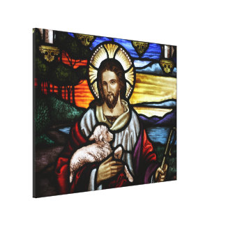 The Good Shepherd; Jesus on stained glass Canvas Print