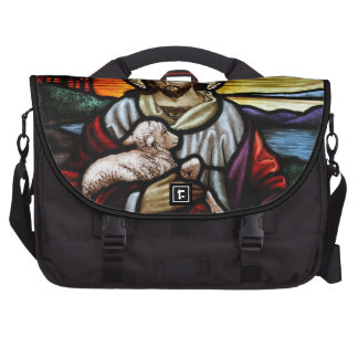 The Good Shepherd; Jesus on stained glass Computer Bag