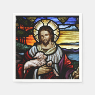 The Good Shepherd; Jesus on stained glass Napkin