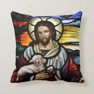 The Good Shepherd; Jesus on stained glass Pillow