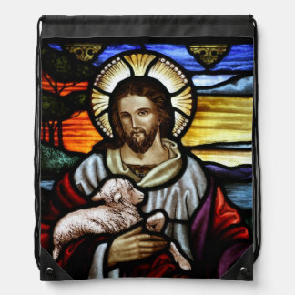 The Good Shepherd; Jesus on stained glass Backpacks