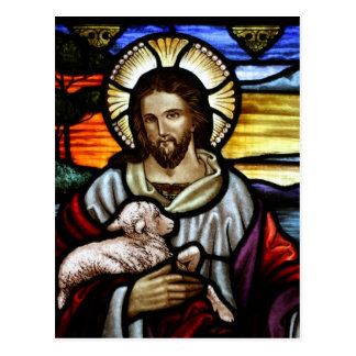 The Good Shepherd; Jesus on stained glass Postcard