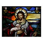 The Good Shepherd; Jesus on stained glass Poster