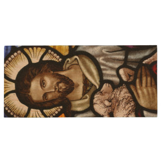 The Good Shepherd; Jesus on stained glass Wood USB Flash Drive