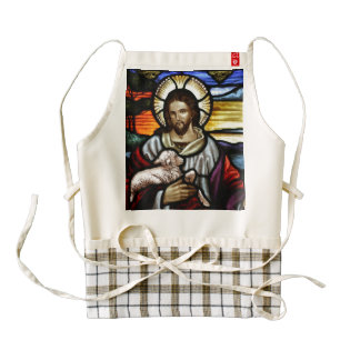 The Good Shepherd; Jesus on stained glass Zazzle HEART Apron