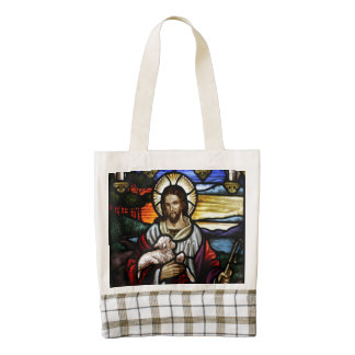The Good Shepherd; Jesus on stained glass Zazzle HEART Tote Bag
