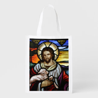 The Good Shepherd; Jesus on stained glass Grocery Bag