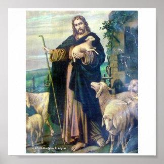 THE GOOD SHEPHERD ON CANVAS c 1900 Print