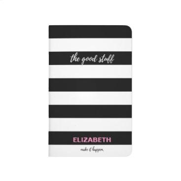 "Beach Themed ""The Good stuff"" Black and white stripes, name Journal"