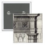 The Gothic Entablature 2 Inch Square Button