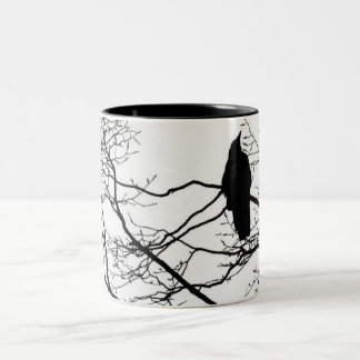 The Gothic Raven in a Tree Two-Tone Coffee Mug