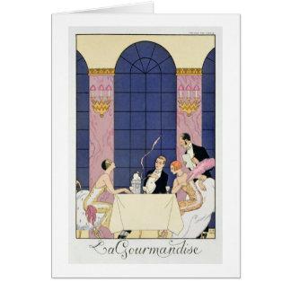 The Gourmands, 1920-30 (pochoir print) Card
