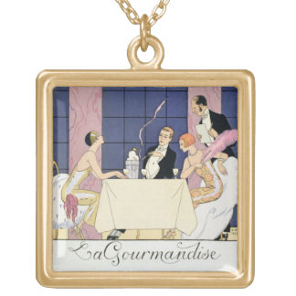 The Gourmands, 1920-30 (pochoir print) Gold Plated Necklace