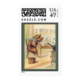 The Gourmet Pig - Cute Anthropomorphic Animal Art Postage Stamp