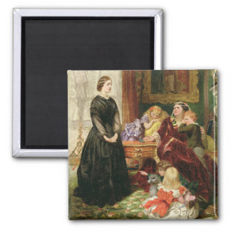 The Governess, 1860 (oil on canvas) 2 Inch Square Magnet