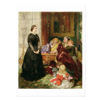 The Governess, 1860 (oil on canvas) Postcard
