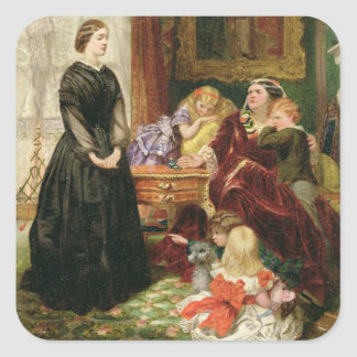 The Governess, 1860 (oil on canvas) Square Sticker