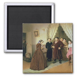 The Governess Arriving at the Merchant's House 2 Inch Square Magnet