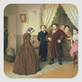 The Governess Arriving at the Merchant's House Square Sticker