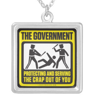 The Government Protecting And Serving Square Pendant Necklace