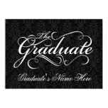 "The Graduate, Elegant Black Damask Graduation 5"" X 7"" Invitation Card"