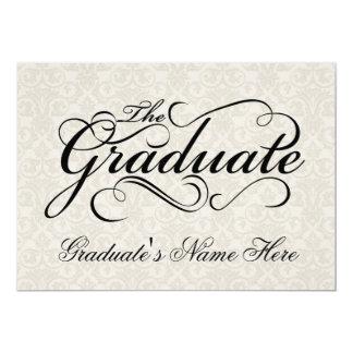The Graduate, Elegant Ivory Damask Graduation Card