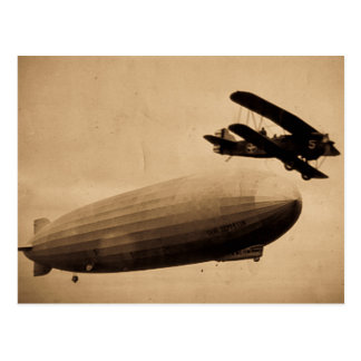 The Graf Zeppelin Approaching New York City 1928 Postcard