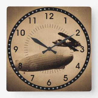 The Graf Zeppelin Approaching New York City 1928 Square Wall Clock