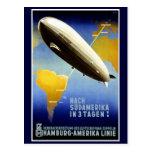 The Graf Zeppelin Line Vintage Travel Poster Postcard