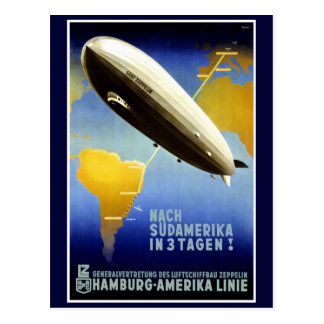 The Graf Zeppelin Line Vintage Travel Poster Postcard