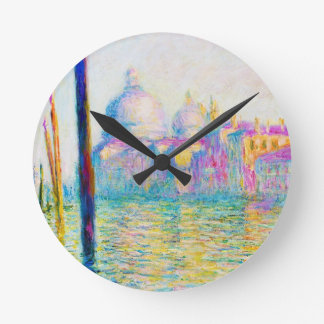 The Grand Canal in Venice Claude Monet Round Clock