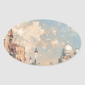 The Grand Canal, Venice by Franz Richard Oval Sticker