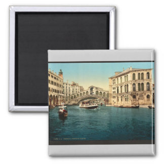 The Grand Canal with the Rialto Bridge, Venice, It 2 Inch Square Magnet