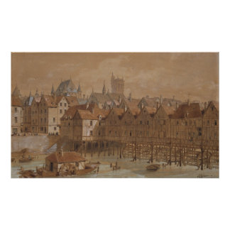 The Grand Chatelet and the Pont aux Meuniers Poster