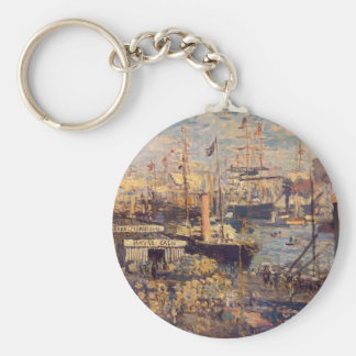 The Grand Dock at Le Havre by Claude Monet Basic Round Button Keychain