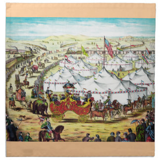 """""""The Grand Lay-Out """" Vintage Circus Art Napkins"""