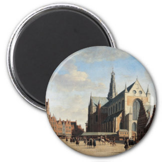 The Grand Market in Haarlem 2 Inch Round Magnet