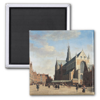 The Grand Market in Haarlem 2 Inch Square Magnet