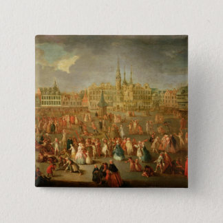 The Grand Place during Mardi Gras, Cambrai, 1765 Pinback Button